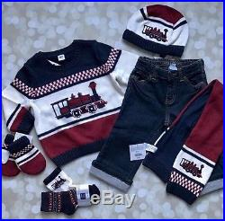 NWTS Janie And Jack Boys 12-18 M Knit Sweater Train Locomotive Outfit Lot Set