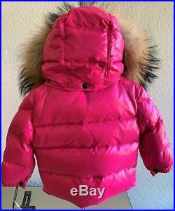NWT $300 SAM. New York Baby Girl Goose Down Raccoon Winter Jacket Coat 6-12 mo