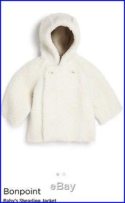 NWT BONPOINT $1,095 Baby GIrls Shearling Jacket Coat 6-12 Months
