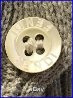 NWT FENDI Baby Girl Sz 6 months Gray Cotton Logo Sweater with White Pique Collar