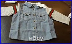 NWT INFANT Baby Boys GUCCI Denim Dress Shirt Tee Size 6/9 Months $195 Gift Top