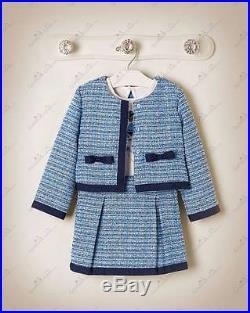 NWT Janie & Jack BLUE CHATEAU Outfit Boucle Skirt Jacket Girl Tee 4 4T