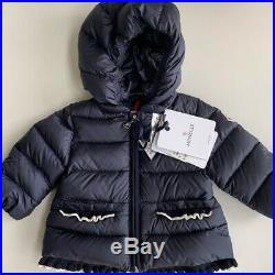 NWT Moncler Temoe Baby Girl Down Jacket Coat Navy White Trim Size 3 to 6 Months
