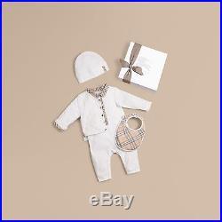 NWT NEW Burberry baby boys girls Zayden 4pc set romper jacket beanie bib 1 6 9m