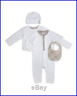 NWT NEW Burberry baby boys girls Zayden 4pc set romper jacket beanie bib 3m