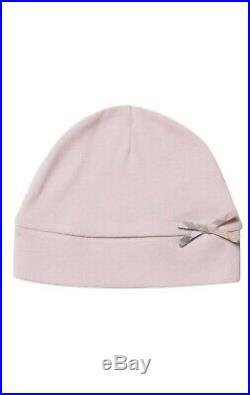 NWT NEW Burberry baby girls pink Jacey 3pc set romper hat bib 3m