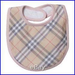 NWT NEW Burberry baby girls pink white Jacey 3pc set romper hat bib 1 3 6 m