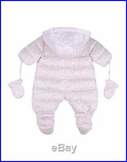 NWT NEW Fendi Baby Girls luxurious Ivory pink logo Snowsuit 3m
