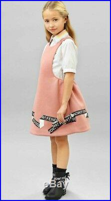 NWT NEW Fendi Baby Girls pink dress text logo white bodysuit blouse 2pc 3m $600