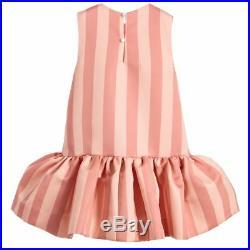 NWT NEW Fendi Baby Girls pink satin stripe dress fur pompom 3m RT $600 +