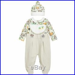 NWT NEW Fendi baby Boys 3pc graphic logo Print romper footie hat bib gift set 3m