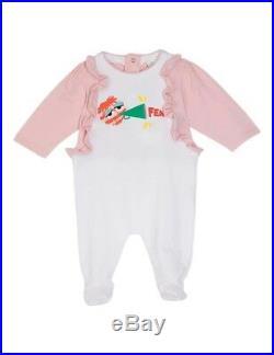 NWT NEW Fendi baby Girls white pink ruffle Cotton ruffle cheerleader romper 3m