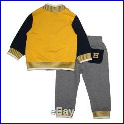 NWT NEW Fendi baby boys 2pc blue gray yellow colorblock tracksuit set 3m