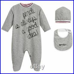 NWT NEW Fendi baby boys gray logo script 3pc set romper hat bib 9 12m