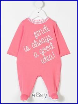 NWT NEW Fendi baby girls pink logo script 3pc set romper hat bib 3 6m