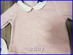 NWT NEW Fendi baby girls pink white velour faint bow logo romper hat bib 3set 3m