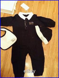 NWT NEW Gucci baby boys blue white 3pc set romper bib beanie 18/24m 269751