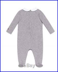 NWT NEW Gucci baby boys girls gray teddy print romper footie 6/9m