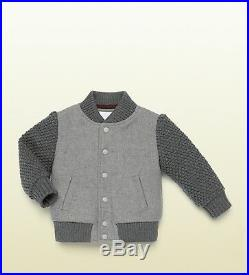 NWT NEW Gucci baby boys girls gray wool textured bomber jacket 9/12m 347601