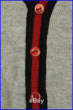 NWT NEW Gucci baby boys navy blue red grey vneck web cardigan 3/6m