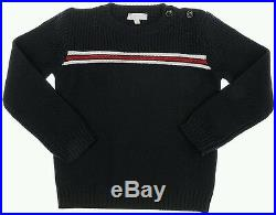 NWT NEW Gucci baby boys navy blue textured sweater pullover red white web 6/9m