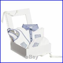 NWT NEW Gucci baby boys white blue 3pc gift set romper bib beanie hat 6/9m