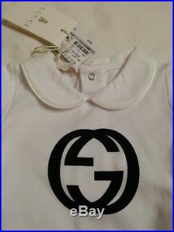 NWT NEW Gucci baby boys white blue GG logo bodysuit 0/3 3/6 6/9 9/12m 265463