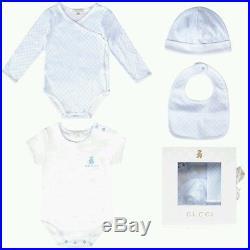 NWT NEW Gucci baby girls 4pc Gift pink romper hat bib 9/12m or 12/18m 256673