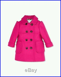NWT NEW Gucci baby girls fuchsia wool double breasted coat 9/12m