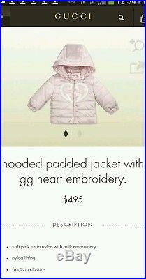 NWT NEW Gucci baby girls pink GG heart logo puffer coat jacket 6/9m 269534