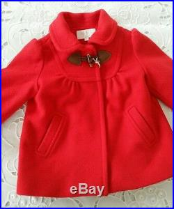 NWT NEW Gucci baby girls red Wool Cashmere Coat Jacket Bamboo toggle 9/12m $495