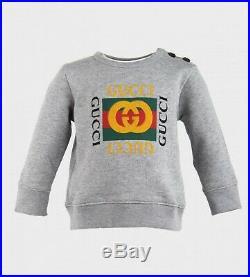NWT NEW Gucci baby toddler boys gray web logo sweatshirt 12/18m 497819