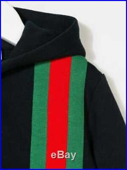 NWT NEW Gucci baby toddler boys navy blue web hoodie sweat jacket 18/24m 516307