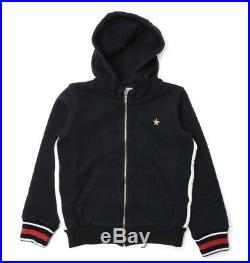 NWT NEW Gucci baby toddler boys navy blue web hoodie sweat jacket 24m 36m 408106