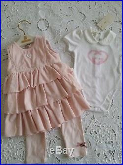 NWT NEW Gucci baby toddler girls gray pink or ivory dress 6/9 9/12 12/18m 263165