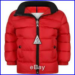 NWT NEW Moncler Clans boys red down feather puffer jacket coat 6/9m 3Y