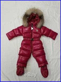 NWT NEW Moncler Crystal baby girls fuchsia pink down fur snowsuit 9/12m
