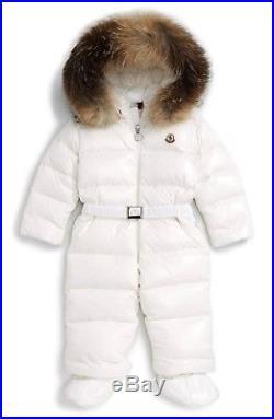 NWT NEW Moncler New Crystal girls boys ivory snowsuit fur trim 18/24m