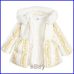 NWT NEW Young Versace baby girls ivory gold down padded coat fur 18m $800+