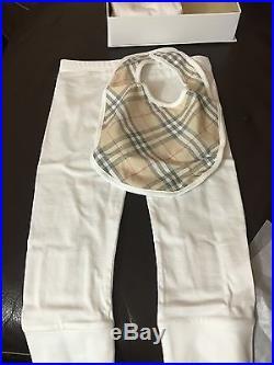 NWT NIB BURBERRY Berty infant Baby 3 piece Check Trim Gift Set sz 12M White $195
