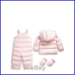 NWT Ralph Lauren Baby Girl 2 Piece Down Filled Pink Snowsuit 12 motag=$195.00
