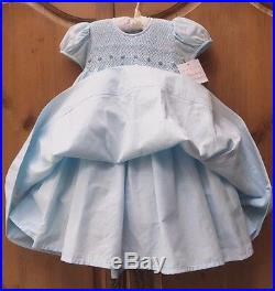 NWT STRASBURG Boutique Crystal Blue Hand Smocked Pageant Party Dress 24M 2 2T