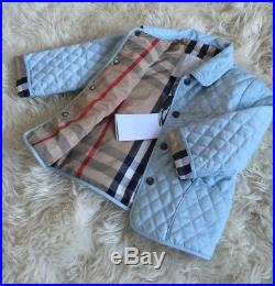 New Authentic Burberry Blue Check Kids Infant Baby Boy Girl Coat Jacket 12m 18m