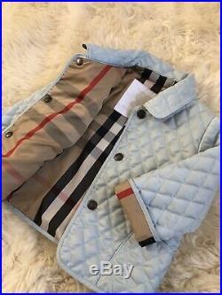 New Authentic Burberry Porcelain Blue Kids Infant Baby Boy Girl Coat Jacket 6m