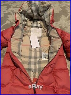 New BURBERRY Pink SKYLAR Baby Girls Down-Filled Puffer Check Jumpsuit 18M $350