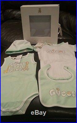 New Baby Girl Boys Infant Gucci Playsuit Bib hat Size 18-24 Months Gift Set 9cd958c0b245