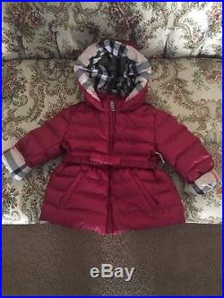New Burberry Toddler Girls Mini Janie Hooded Down Puffer Infant Jacket / SZ2Y