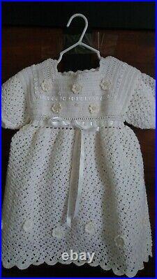 New Gift Baby Girl Handmade Crochet White Clothing Bead Flower Dress Set 6-12 M