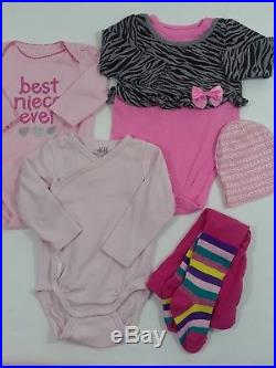 Newborn 0-3 months 3-6 month baby girl clothes lot for summer fall and winter