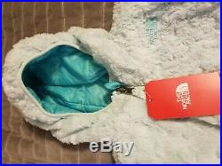 North Face 4 T Girl's Hooded Reversible Jacket turquoise